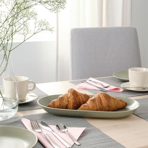 "FÄRGKLAR Serving plate, matte green, 13x7 """