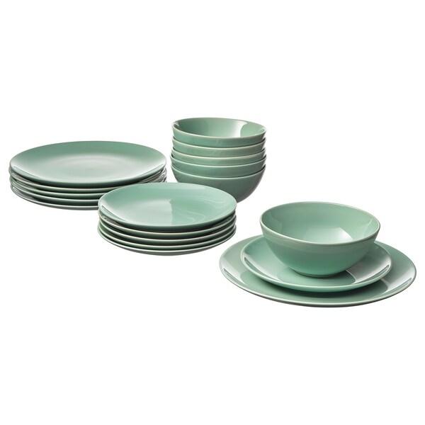 FÄRGRIK 18-piece dinnerware set - light green - IKEA