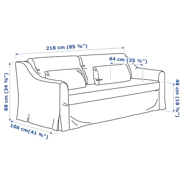 """FÄRLÖV sofa Djuparp dark gray 34 5/8 """" 85 7/8 """" 41 3/4 """" 5 7/8 """" 24 """" 75 1/4 """" 25 1/4 """" 18 7/8 """""""