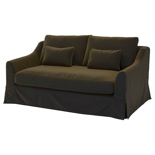 FÄRLÖV Sleeper sofa, Djuparp dark olive-green