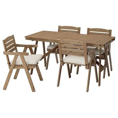 FALHOLMEN table and 4 armchairs, outdoor light brown stained/Frösön/Duvholmen beige