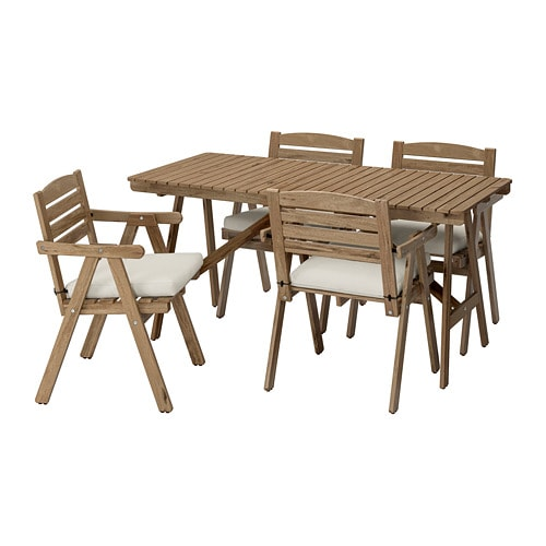 FALHOLMEN   Table And 4 Armchairs, Outdoor, Light Brown Stained Gray Brown,  Frösön/Duvholmen Beige