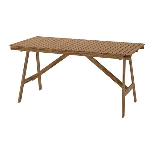 FALHOLMEN   Table, Outdoor, Gray Brown Stained Light Brown Stained