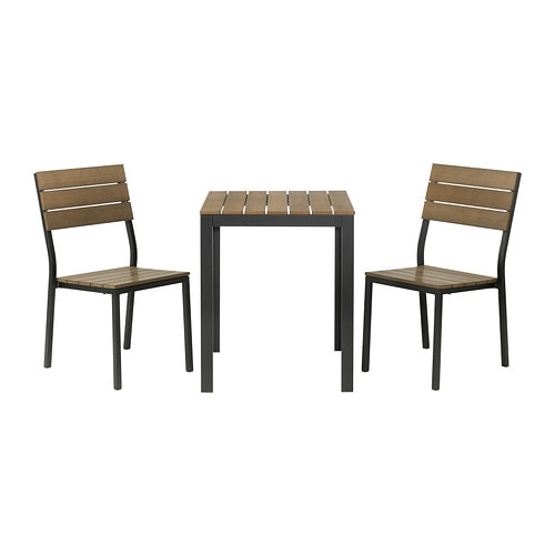 FALSTER Bistro set IKEA Polystyrene slats are weather-resistant and easy to care for.  Rustproof aluminum frame is both sturdy and lightweight.