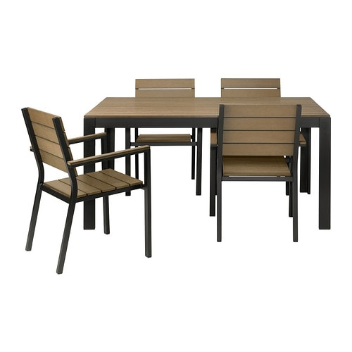 Falster table and 4 armchairs outdoor black brown ikea for Banco de jardin ikea