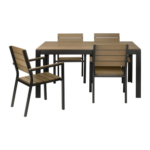 FALSTER Table and 4 armchairs, outdoor IKEA Polystyrene slats are weather-resistant and easy to care for.