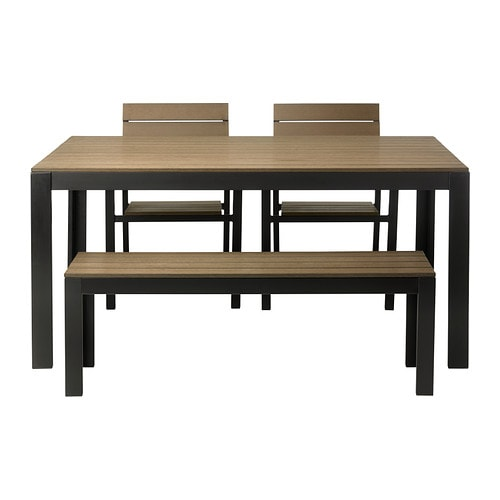 Falster table 2 chairs and bench outdoor black brown ikea - Ikea wooden dining table chairs ...