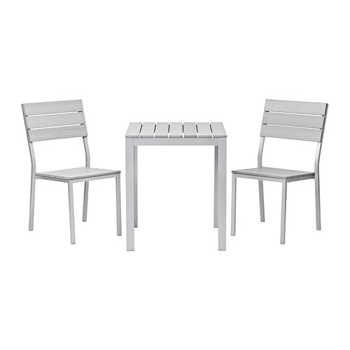 FALSTER Table+2 chairs, outdoor IKEA Polystyrene slats are weather-resistant and easy to care for.