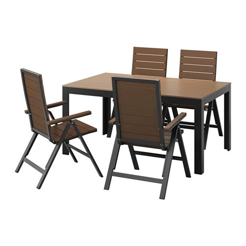 Falster Table 4 Reclining Chairs Outdoor Black Brown Ikea