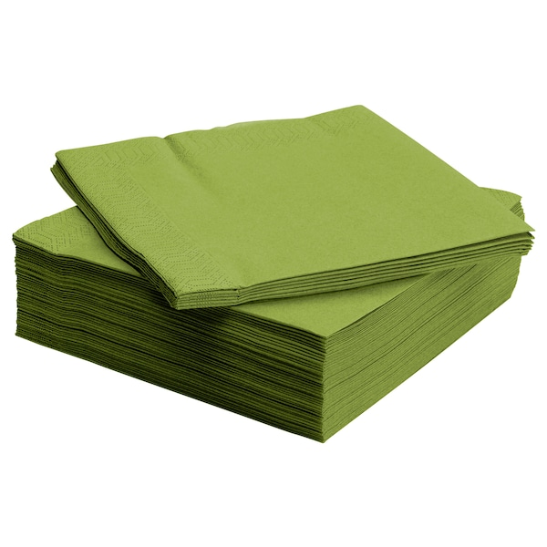 """FANTASTISK Paper napkin, medium green, 15 ¾x15 ¾ """""""