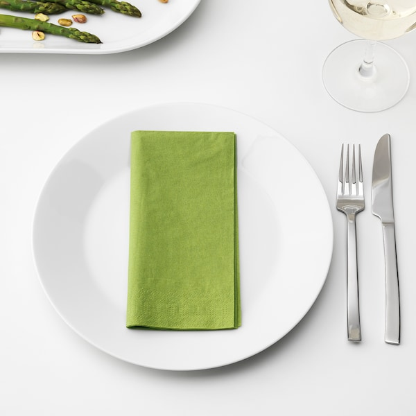 FANTASTISK Paper napkin, medium green, 15 ¾x15 ¾ ""