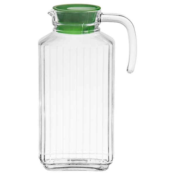 FARLIG Pitcher with lid, clear glass, 57 oz