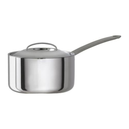 FAVORIT Saucepan with lid IKEA Works well on all types of cooktops, including induction cooktops.  Made all in metal; safe to use in the oven as well.