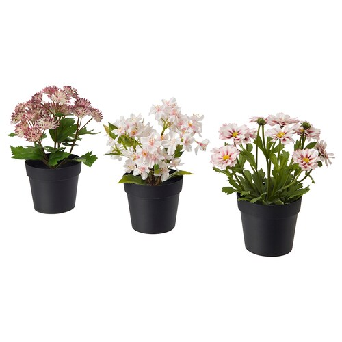"""FEJKA artificial potted plant indoor/outdoor pink 3 ½ """" 7 ¾ """" 3 pack"""