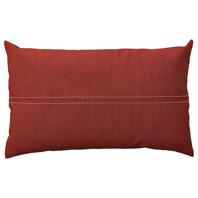 FESTHOLMEN Cushion cover, in/outdoor, red/light grey-beige, 16x26 ""