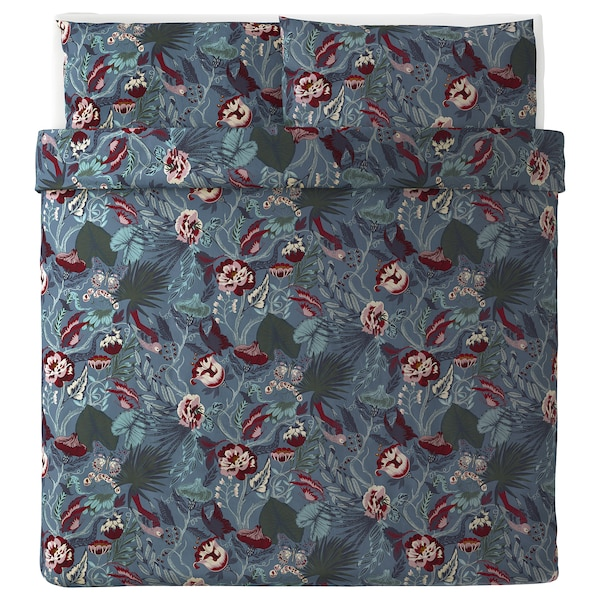 "FILODENDRON duvet cover and pillowcase(s) dark blue/floral patterned 250 /inch² 2 pack 86 "" 102 "" 20 "" 36 """