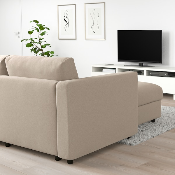 "FINNALA sectional, 4-seat with chaise/Tallmyra beige 33 1/2 "" 28 "" 64 5/8 "" 126 3/4 "" 38 5/8 "" 49 1/4 "" 2 3/8 "" 5 7/8 "" 28 "" 115 "" 21 5/8 "" 18 7/8 """