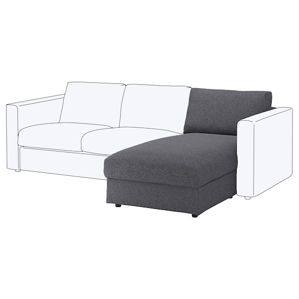 FINNALA Chaise section, Gunnared medium gray