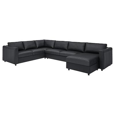 FINNALA Corner sleeper sofa, 5-seat, with chaise/Grann/Bomstad black
