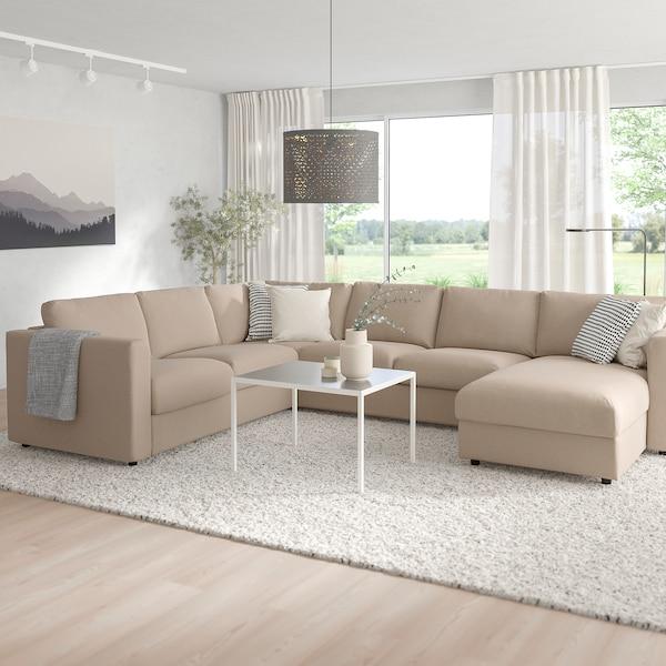 FINNALA Corner sleeper sofa, 5-seat, with chaise/Tallmyra beige