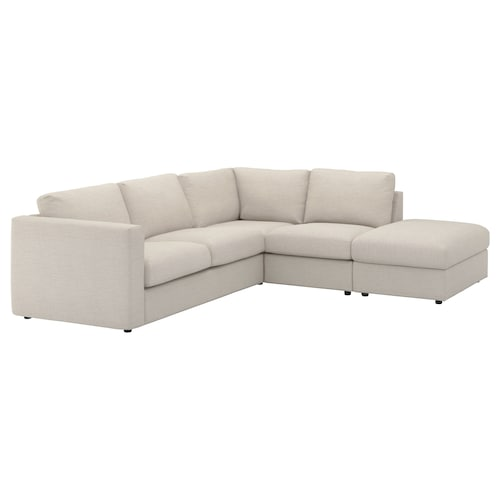 """FINNALA sectional, 4-seat corner with open end/Gunnared beige 33 1/2 """" 28 """" 38 5/8 """" 92 1/2 """" 76 3/4 """" 75 5/8 """" 98 """" 2 3/8 """" 5 7/8 """" 28 """" 21 5/8 """" 18 7/8 """""""