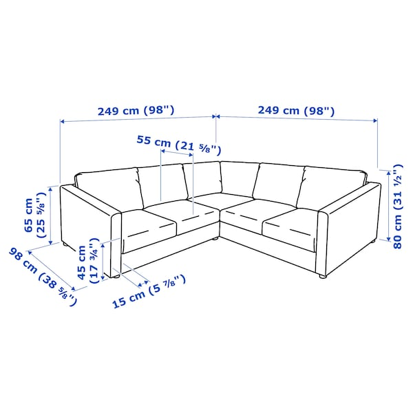 FINNALA Sectional, 4-seat corner, Grann/Bomstad black