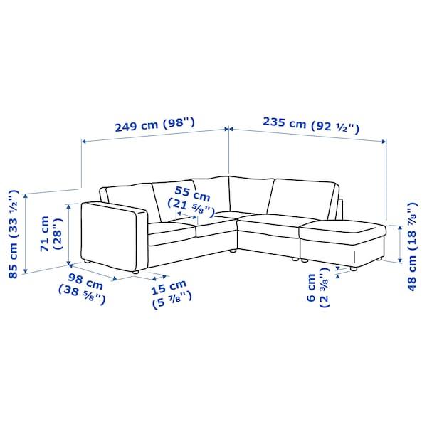 FINNALA Sectional, 4-seat corner, with open end/Gunnared medium gray
