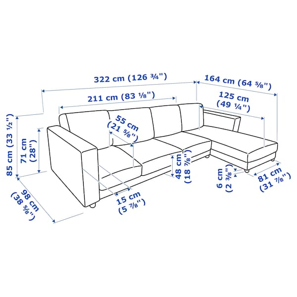 FINNALA Sectional, 4-seat, with chaise/Grann/Bomstad black