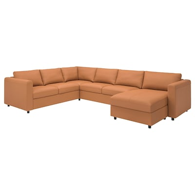 FINNALA Sectional, 5-seat corner, with chaise/Grann/Bomstad golden brown