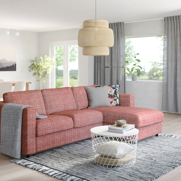FINNALA Sleeper sofa, with chaise/Dalstorp multicolor