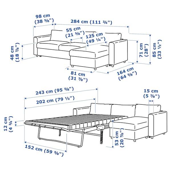 FINNALA Sleeper sofa, with chaise/Grann/Bomstad black
