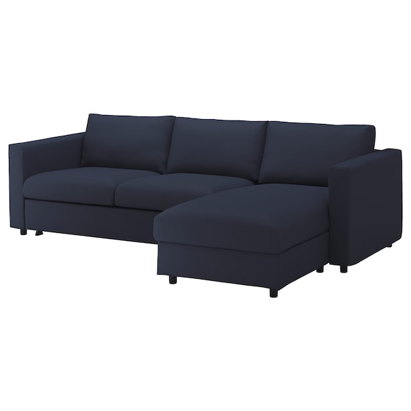 FINNALA Sleeper sofa, with chaise/Orrsta black-blue