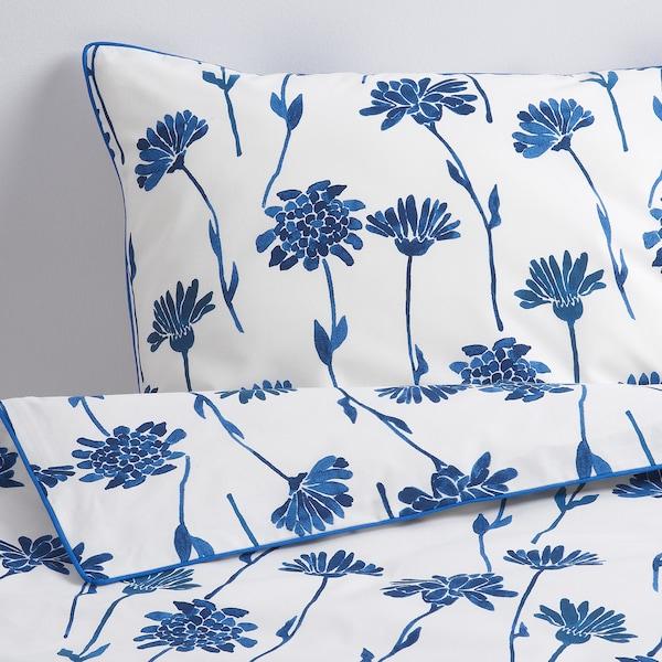 "FINNOXEL duvet cover and pillowcase(s) white/blue flower 182 /inch² 2 pack 86 "" 86 "" 20 "" 30 """