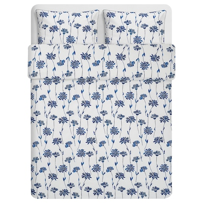 "FINNOXEL duvet cover and pillowcase(s) white/blue flower 182 /inch² 2 pack 86 "" 86 "" 20 "" 30 """