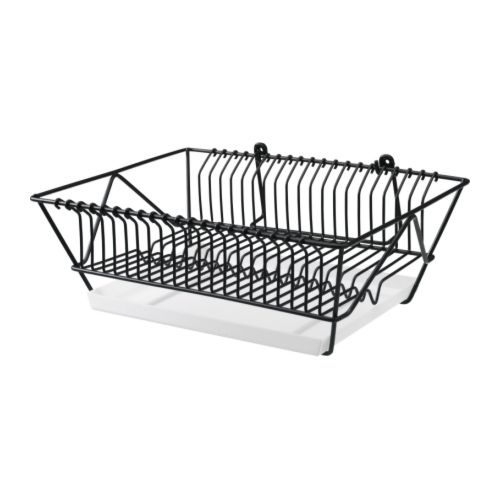 FINTORP Dish drainer IKEA Can be hung on the wall or placed on the countertop.  Removable tray underneath to collect water from the drainer.