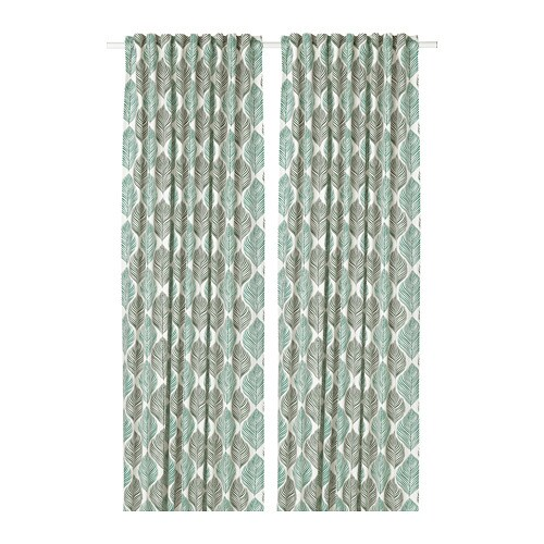 FJÄDERKLINT Curtains, 1 pair, white/green white/green 57x98