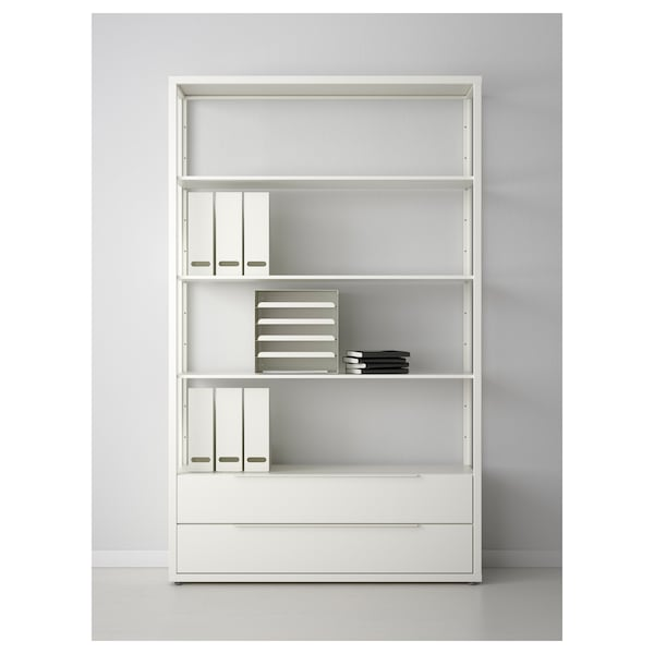 FJÄLKINGE Shelf unit with drawers, white, 46 1/2x13 3/4x76 ""