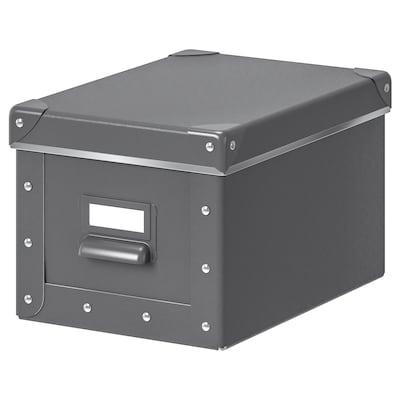 """FJÄLLA Storage box with lid, dark gray, 7x10 ¼x6 """""""