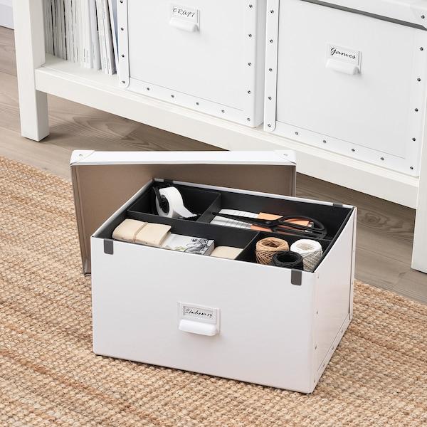 "FJÄLLA Storage box with lid, white, 9 ¾x14 ¼x7 ¾ """
