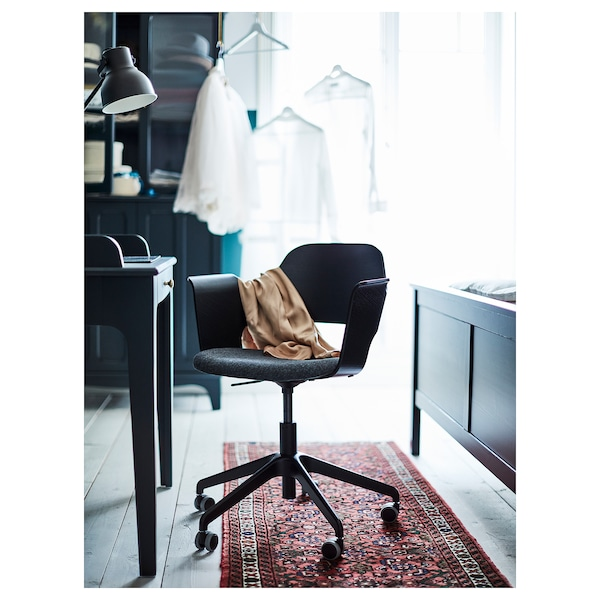 FJÄLLBERGET Conference chair with casters, black stained ash veneer/Gunnared dark gray