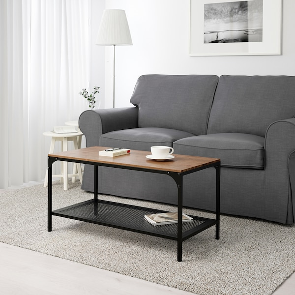 FJÄLLBO Coffee table, black, 35 3/8x18 1/8 ""