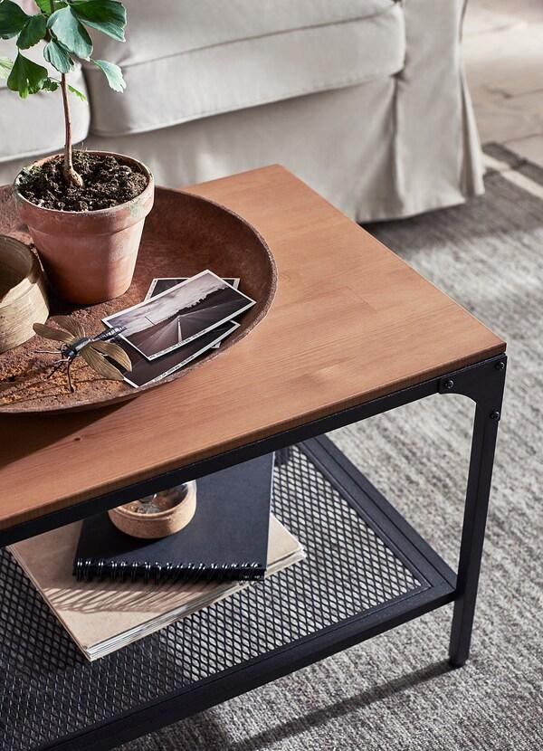"""FJÄLLBO coffee table black 35 3/8 """" 18 1/8 """" 18 1/8 """""""