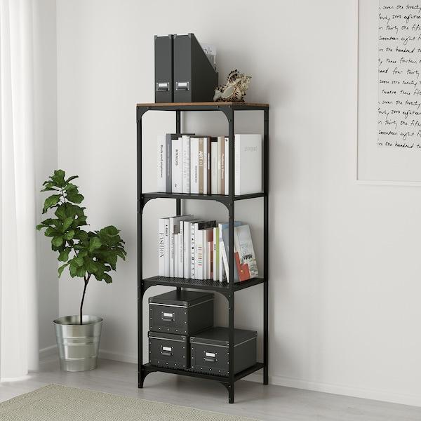 "FJÄLLBO shelf unit black 20 1/8 "" 14 1/8 "" 53 1/2 "" 37 lb"