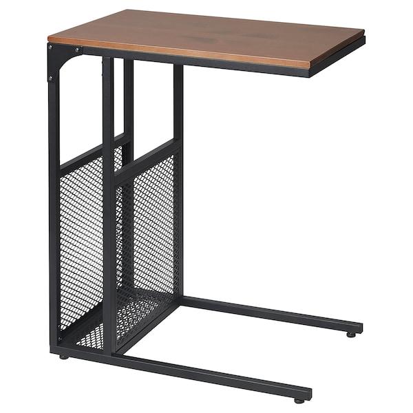 "FJÄLLBO Side table with storage, black, 13x25 1/4 """