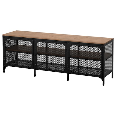"FJÄLLBO TV unit black 66 lb 59 "" 14 1/8 "" 21 1/4 "" 117 lb"