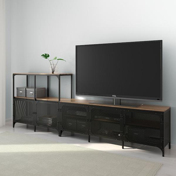 "FJÄLLBO TV storage combination black 98 3/8 "" 14 1/8 "" 37 3/8 """