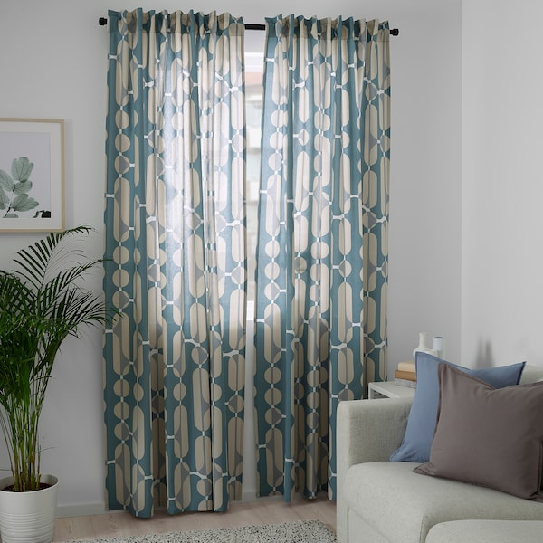 FJÄLLMÄTARE Curtains, 1 pair, beige/blue, 57x98 ""