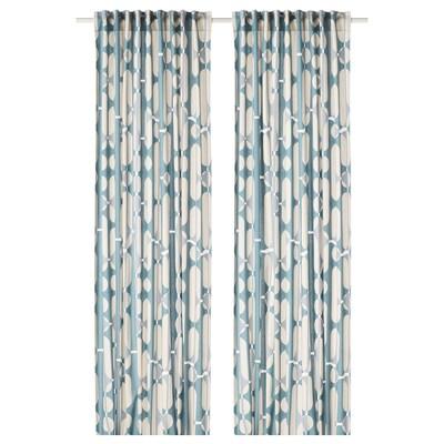 "FJÄLLMÄTARE Curtains, 1 pair, beige/blue, 57x98 """