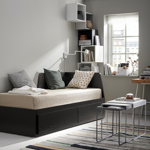 FLEKKE Daybed frame with 2 drawers IKEA The backrest mounts on the right or the left side of the daybed.