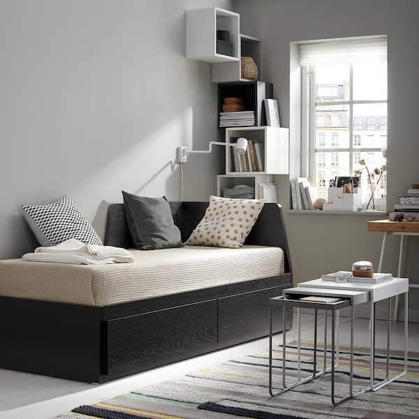 FLEKKE Daybed with 2 drawers/2 mattresses, black-brown/Minnesund firm, Twin